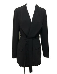 Ladies TOKITO Black Lined Belted Jacket. Size 10. GUC