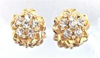 Vintage Signed Weiss Gold White Chaton Rhinestone Earrings