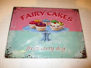 Fairy Cakes Embossed Tin Sign