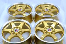 15 gold Wheels Miata Spectra CRX Del Sol Civic Cooper Tiburon 4x100 4x114.3 Rims