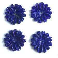 4 PC Natural Lapis Carved Flower 18mm - New DIY Bead for Design Wholesale