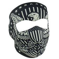 Vintage Black Grey American Flag Eagle Neoprene Face Mask Biker Costume Party