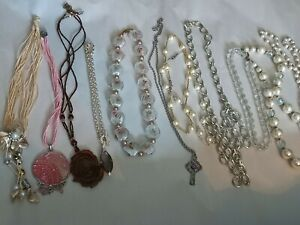 12 quality Necklaces, white, silver faux pearl, glass