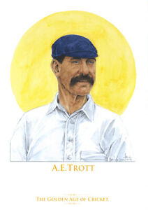 Golden Age of Cricket - Albert Trott - Limited Edition A4 watercolour print