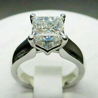 2.23ct Princess cut Solitaire Diamond Engagement Ring Band Solid White Gold Over