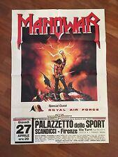 """MANIFESTO,""""88,MANOWAR Heavy metal KINGS OF METAL SCANDICCI FIRENZE KEN KELLY ART"""