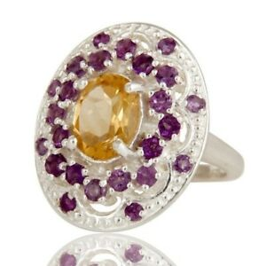 Natural Amethyst and Citrine Gemstone Sterling Silver Engagement Ring