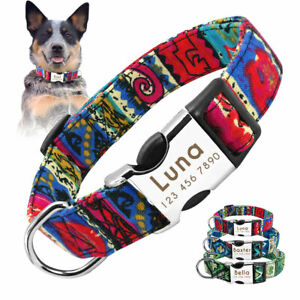 Personalized Fabric Dog Collar Custom ID Name Tag Engrave for Small to Large Dog