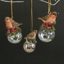 3 Robin On Glass Iridescent Ball Gisela Graham Vintage Christmas Tree Decoration