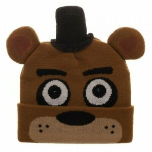 NEW BROWN FIVE NIGHTS AT FREDDYS CUFF LED BEANIE HAT CAP ONE SZ AUTHENTIC