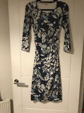 dc89645de227 REISS Balbina Blue Ruched Floral Print Stretch Bodycon Midi Dress S