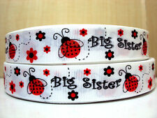 """1 m x  7/8"""" Red Ladybug with Glitter Wings Big Sister White Grosgrain Ribbon"""