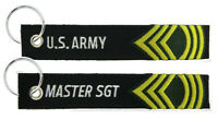 ARMY RANK MASTER SERGEANT EMBROIDERED FOB KEY CHAIN