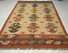 Kilim Rug Large Ethnic Geometric Wool Jute Indian 180x270cm 6x9 Handmade Beige