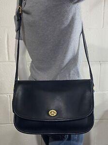 USA COACH Vntg Women's CITY FLAP Black Soft Leather 9790 Crossbody Messenger Bag