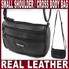 3aafd547c8 BLACK GENUINE LEATHER SMALL SHOULDER BAG across body Handbag Womens Ladies  NEW
