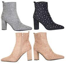 Womens Ankle Boots High Block Heel Studs Detail Zip Closure Suede Ladies Shoes