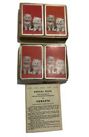 Pair Of Vintage 1950 ARRCO Playing Cards 2 Kittens Cats W Canasta Rules & Box