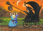 ACEO PRINT OF PAINTING RYTA HALLOWEEN WITCH TRICK OR TREAT CANDY BLACK CAT ART