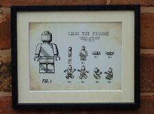 Dibujo De Patente de EE. UU. Vintage Primera Lego Figura de juguete ladrillo montado impresión 1979 Navidad