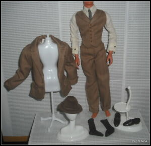 OUTFIT KEN HENRY HIGGINS MY FAIR LADY BROWN SUIT HAT SHOES JACKET PANTS CLOTHING