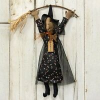"""primitive country rustic Halloween decor stuffed Minerva WITCH 15"""" doll w broom"""