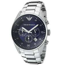 Emporio Armani AR5860 Mens Silver Metal Blue Chronograph Stainless Steel Watch