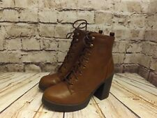 Womens New Look Tan Faux Leather Zip Up High Heel Platform Ankle Boots UK 4 EU37
