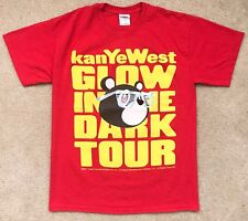 Kanye West Glow In The Dark Tour T-Shirt Men sz S yellow Red 2007 Retro Concert