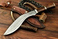 Rare!!! Custom Handmade Damascus Steel Blade Hunting Kukri Knife | Walnut Wood