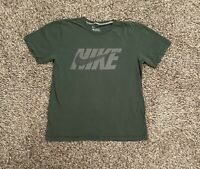 Nike Mens T-Shirt Large Green Spell Out Swoosh Logo Graphic