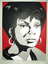Canvas Painting Star Trek Nichelle Nichols Uhura B&W Red Art 16x12 inch Acrylic