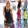 UK Womens Tops Holiday Floral Pullover Beach Sundress Ladies Mini Sun Dress Tops