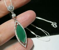 Beautiful Sterling SILVER Green Chalcedony Topaz Gem Stone Pendant NECKLACE