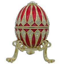 Red Enamel Jeweled Royal Inspired Russian Egg 3.25 Inches