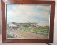vintage original Rellier abstract oil painting horse track racing jockey canvas