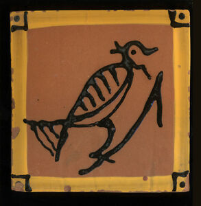 "1994 Primitive Bird Tile Signed American Folk Arts, 6 3/4 x 6 3/4"""