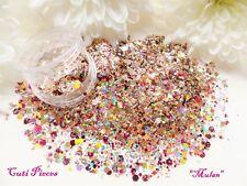 NailArt *Princess Mulan* Gold Fine Cut Myler Hexagon Holographic Mix Glitter Pot