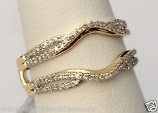 Yellow Gold Split Shank Solitaire Enhancer 0.25ct Diamonds Ring Guard Wrap