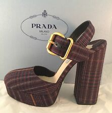 NEW PRADA MILANO CALZATURE DONNA BORDEAUX GALLES CHECK ITALY SZ 8 / 38 EU $825+