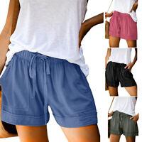 Women's Summer Elastic Waist Shorts Ladies Baggy Shorts Trousers Pants Plus Size