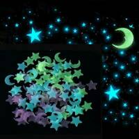 100 x Wall Ceiling Glow In the Dark Moon Stars Stickers 3D Decal Bedroom Kids US