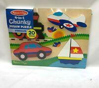 Melissa & Doug Vehicles Wooden Chunky Jigsaw Puzzle (20 pcs) NEW SEALED