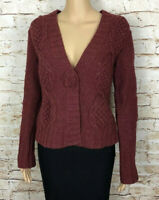 CAbi Sweater Cardigan Red Lambs Wool Style 347 Snap Button Front Women's Small