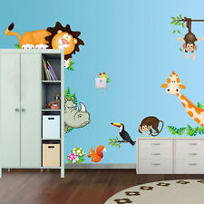 Wandtattoo Wandsticker Zoo Tiere Wald XXL Affe Kinderzimmer Nashorn Giraffe Löwe