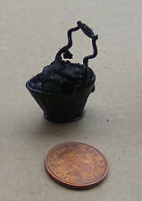 1:12 Scale Metal Scuttle & Real Coal Dolls House Fireplace Bucket Accessory