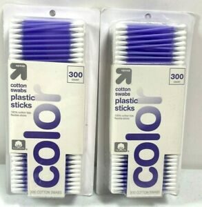 2 Packages Up & Up Cotton Swabs Plastic Sticks 300 Count Each