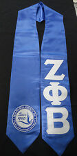 Zeta Phi Beta Blue Graduation Stole Stoll Sash Sewn Letters With New Seal/Crest