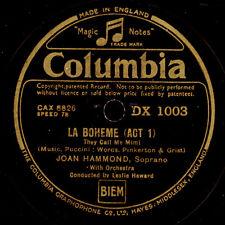 "JOAN HAMMOND -SOPRANO- ""La Boheme"" They call me Mimi / ""Butterfly""  78rpm G3049"