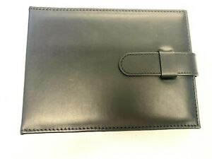 Black LEATHER & SUEDE folder wallet style watch holder travel case - 10 straps